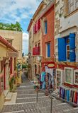 Street in old town Chania, Crete island, Greece Royalty Free Stock Photos