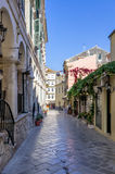 Street in the old town of Corfu island, Greece Royalty Free Stock Photography