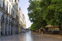 Street in the old town of Corfu island, Greece, early in the morning Royalty Free Stock Photo