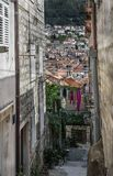 Street in the old town of Dubrovnik, Croatia. View of the old town and Church stock photos