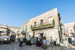 Street of the old town in Erice, Sicily, Italy Royalty Free Stock Image