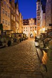 Street in Old Town of Gdansk by Night Stock Image