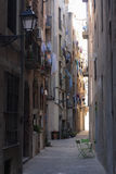 Street in the Old Town, Gothic Quarter, Barcelona, Spain. royalty free stock photo