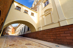 Street in old town of Grudziadz. With arch, Poland Royalty Free Stock Photo