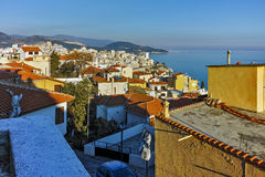 Street in the old town in Kavala, East Macedonia and Thrace Royalty Free Stock Image