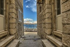 Street in the old town Korcula, Croatia Stock Photo