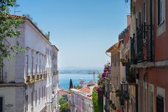 Street in old town of Lisbon Stock Photo