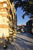 Street of the old town of Nesebar filled in with light of a sunrise in Bulgaria Stock Photography