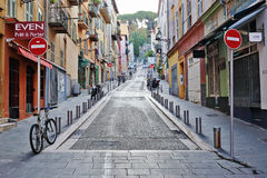 Street the old town of Nice. NICE, FRANCE - OCTOBER 30, 2014: A general view of a street in the old town Royalty Free Stock Images