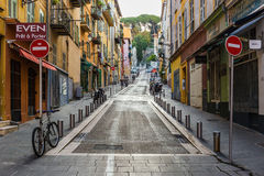 Street the old town of Nice. NICE, FRANCE - OCTOBER 30, 2014: A general view of a street in the old town Stock Image