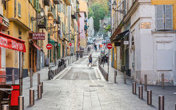 Street the old town of Nice. NICE, FRANCE - OCTOBER 30, 2014: A general view of a street in the old town Royalty Free Stock Photography