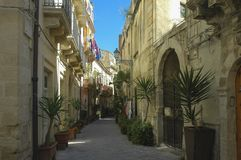 Street of the Old Town of Ortigia in Sicily royalty free stock photos