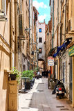 Street in old town of Perpignan in springtime Stock Images