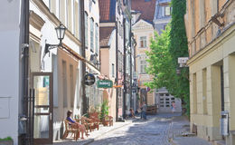 Street in the old town. Riga, Latvia Royalty Free Stock Images