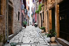 Street in the old town of Rovijn, Croatia Royalty Free Stock Photos