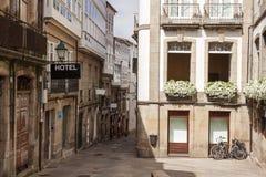 Street in the old town of Santiago de Compostela. Galicia. Street in the old town of Santiago de Compostela. Showplace of Galicia Stock Photos