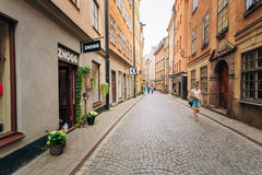 Street in the old town in Stockholm in Sweden Royalty Free Stock Photos