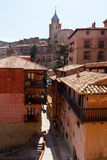 Street at old town in sunny day.  Albarracin Royalty Free Stock Photos