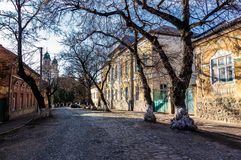 Street of old town in sunny spring day. Cobblestone road, beautiful architecture and old Cathedral in the distance Royalty Free Stock Images