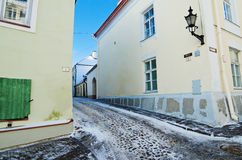 Street in old town Tallinn frosty morning Royalty Free Stock Photos