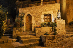 Street of the old town of Tossa de Mar at night, Spain Stock Photo