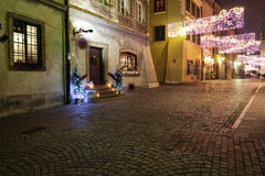 Street in Old Town of Warsaw by Night Stock Image