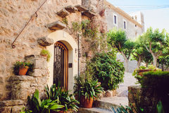 Street old traditional houses at Waldemossa. Narrow street old traditional houses at Waldemossa, Mallorca island Stock Photography