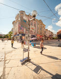 On the street of old Varna in Bulgaria Royalty Free Stock Image