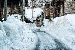 Street in old village, winter season - Sonogno Royalty Free Stock Image