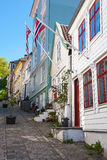 Street with old wooden houses Royalty Free Stock Photo