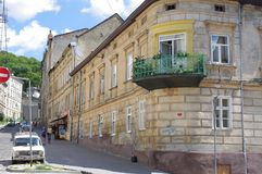 Street in the oldest part of Lviv in Ukraine. On the slopes of High Castle hill royalty free stock image