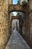 Street at Omis, Croatia. Architecture background royalty free stock photo
