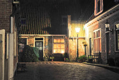 Street in oosterend by night Royalty Free Stock Images