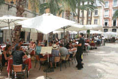 Street, open cafe in the tourist city. Dining Royalty Free Stock Photos