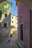 Street of Oprtalj. Oprtalj-Portole, situated on the hill is one of the most picturesque towns of the northern Istria Royalty Free Stock Images