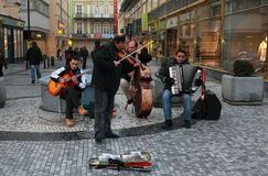 Street orchestra playing music Stock Image