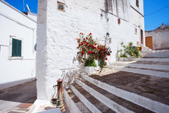 Street in Ostuni, southern Italy. Beautiful street in Ostuni, southern Italy Royalty Free Stock Photos