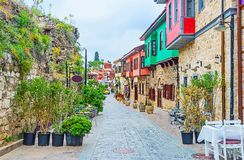 The street of Ottoman cottages. The restored Ottoman cottages are the notable landmark of Kaleici district, tourists like to walk here, visit local cafes and Royalty Free Stock Photography