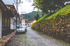 Street in Ouro Preto. An old Brazilian street, featuring modern elements Stock Photo