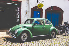 Street in Ouro Preto. A vintage car in Brazil Royalty Free Stock Photo