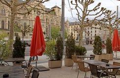 Street and outdoor cafe in Geneva, Switzerland. stock photo