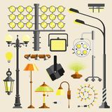 Street outdoor and home lamps light electric equipment vector tool. Lamps styles design electricity light furniture, different types electric equipment vector Stock Photography