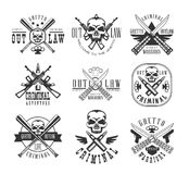 Street Outlaw Criminal Club Black And White Sign Design Templates With Text And Weapon Silhouettes Stock Images