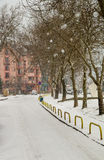 Street P. K. Yavorova in Pomorie, Bulgaria winter stock images
