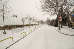 Street P.K.Yavorova winter in Pomorie, Bulgaria royalty free stock image