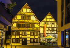 Street in Paderborn, Germany. In the evening. The street with historical half-timbered houses in the old city of Paderborn, Germany royalty free stock photos