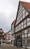Street in Paderborn, Germany. The street with historical half-timbered houses in the old city of Paderborn, Germany Stock Photo