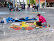 Street painter at work Royalty Free Stock Photography