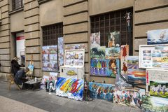 Street painter in Zagreb, Croatia Royalty Free Stock Photo