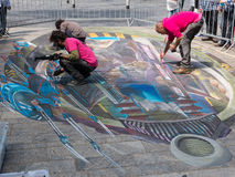 Street painting in 3D Royalty Free Stock Image